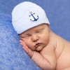 Striped Blue and White Hat with Navy Anchor Newborn Boy Nursery Beanie