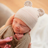 Tan and White Striped Baby Bear Newborn Boy Hospital Hat