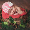 Red and White Striped Hydrangea Baby Newborn Girl Hospital Hat