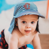 Striped White & Blue Sun & Swim Sun Hat for Baby Boys - PERSONALIZATION OPTION