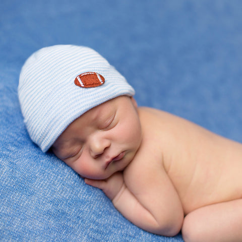 Football Blue and White Striped Newborn Boy Hospital Hat