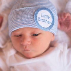 Striped Little Brother Newborn Boy Hospital Hat icon