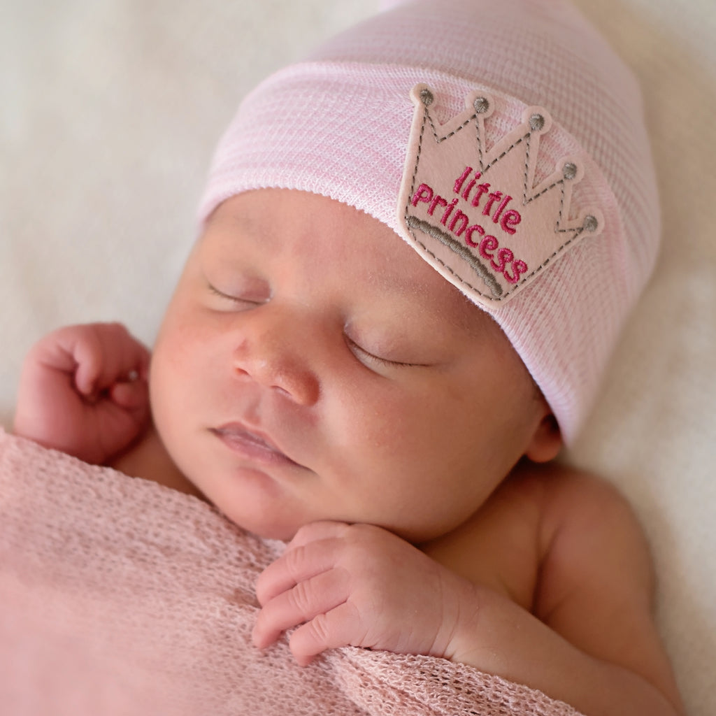 Little Princess Patch Newborn Girl Hospital Hat - Traditional Striped or White