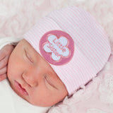 Pink & White Striped Little Sister Newborn Girl Hospital Hat