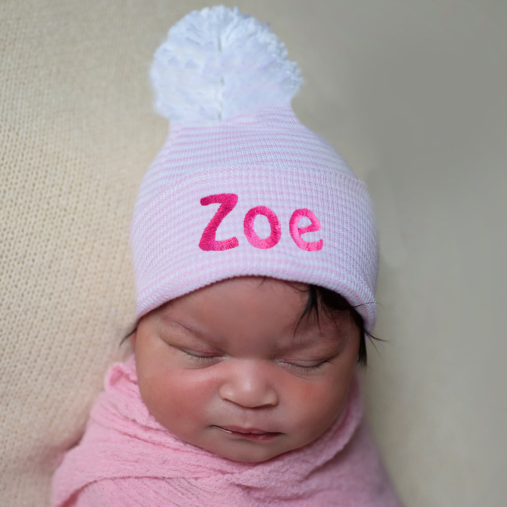 Personalized Candy Stripe Pink and White Nursery Hospital Hat with White Pom Pom