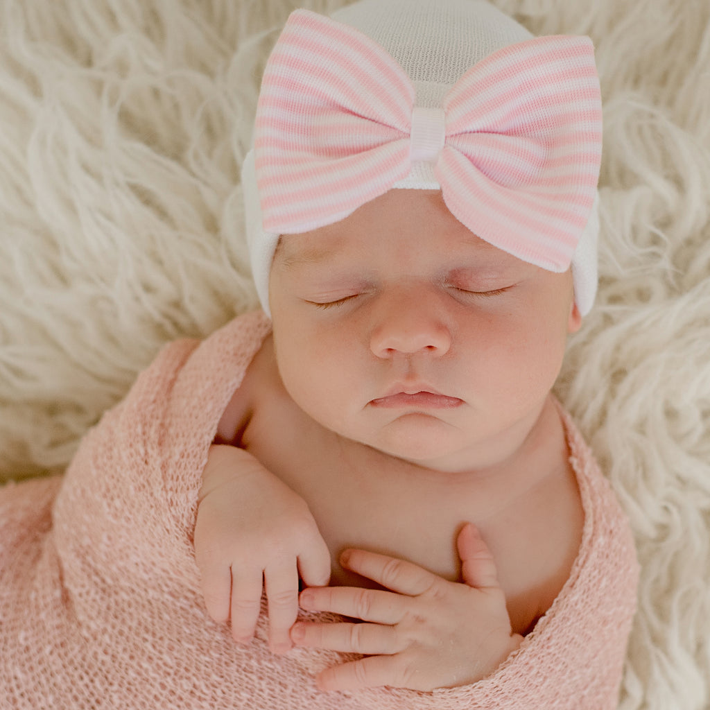 Strawberry Kisses Striped Bow Newborn Girl Hospital Hat