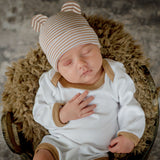 Tan and White Striped Baby Bear Newborn Boy Hospital Hat with Matching Onesie