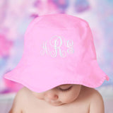 Pink Monogrammed Girl Sun Hat for Baby and Toddler Girls - Choice of thread colors