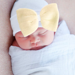 Sunshine Bow Newborn Girl Hat - Yellow Bow with White Hat icon