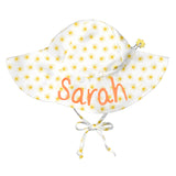 Sunshine Print White Wide Brim Sun Hat for Baby and Toddler Girls - Personalization Option