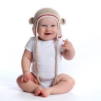 Tan Sporty Organic Baby Bear with Ears Animal Hat