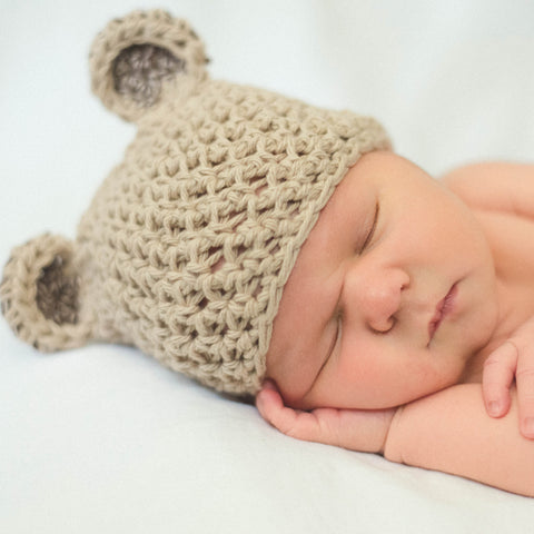Coffee -n- Cream Bear Hat for Baby and Toddler Boys