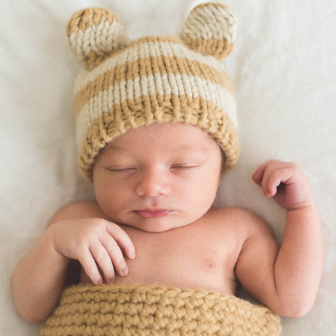 Café Au Lait Striped Tan and Creme Baby Bear Hat - Gender Neutral