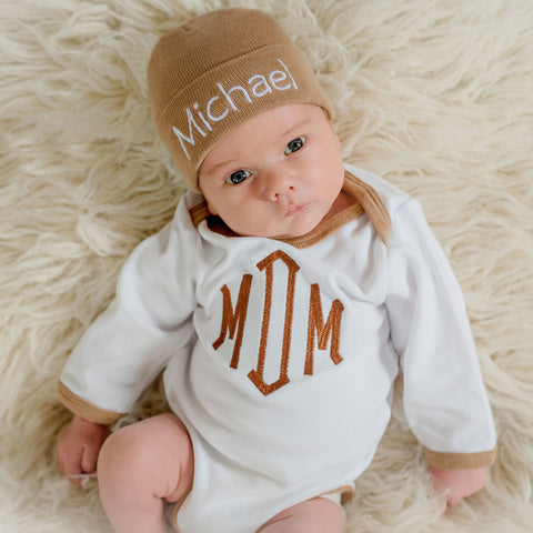Personalized Tan Hospital Hat with Monogrammed Matching Onesie