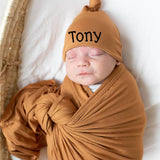 Caramel Knot Hat and Swaddle SET for Newborn Babies - Gender Neutral - Personalization Optional