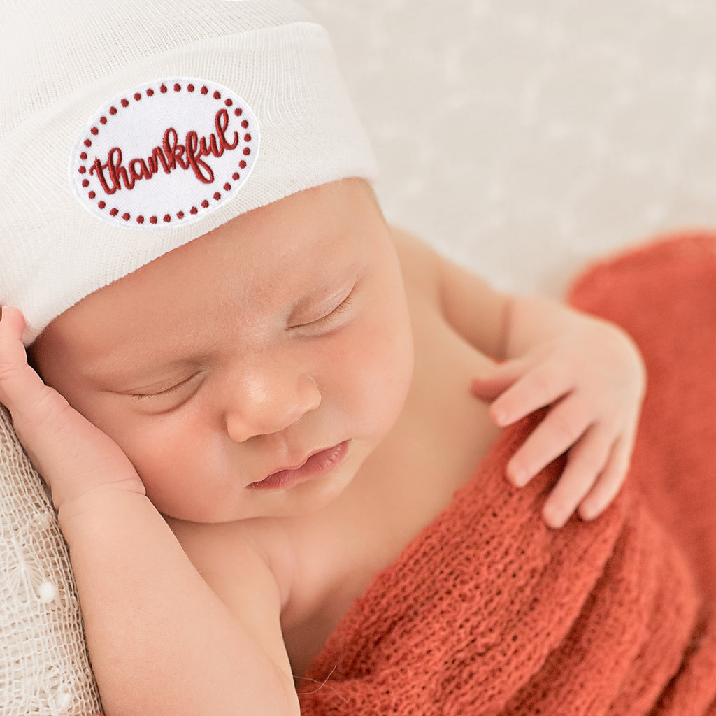 Thankful Thanksgiving Patch White Newborn Hospital Hat - Gender Neutral - Boy or Girl