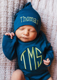100% Organic Cotton Deep Sea Blue Monogrammed Onesie with Personalized Knot Newborn Hat