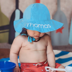 Light Blue Baby and Toddler Sun Hat with Sun Protection - Personalization Option icon
