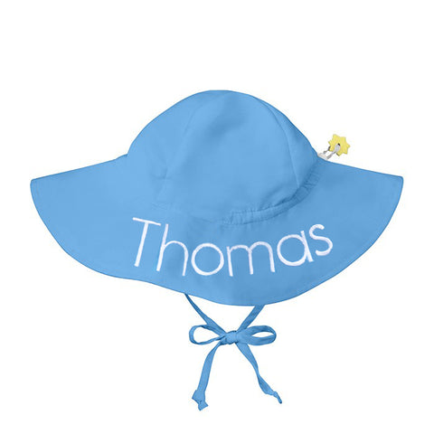Light Blue Baby and Toddler Sun Hat with Sun Protection - Personalization Option