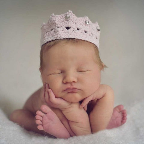 Pink and Sparkly Knit Tiara for Newborn Girls