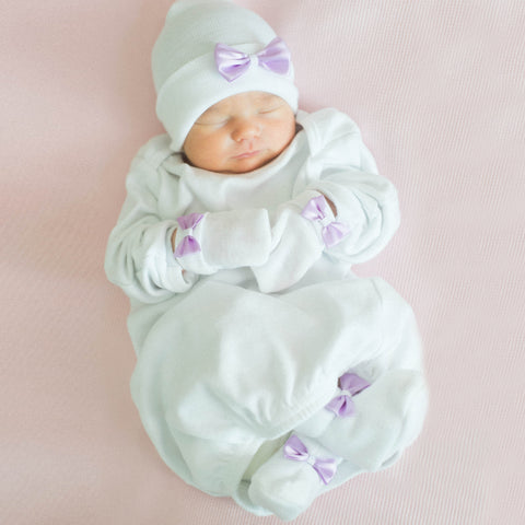 Sweet White and Lavender Satin Newborn Girl Hat, Mittens and Booties Nursery SET