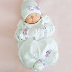 Sweet White and Lavender Satin Newborn Girl Hat, Mittens and Booties Nursery SET icon