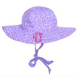 Purple Sun Hat with White Floral Print -PERSONALIZED Option - Name or Monogram