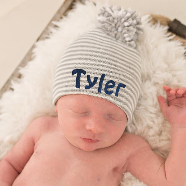 Personalized Grey and White Striped Nursery Beanie with Mixed Pom Pom Newborn Boy Hospital Hat