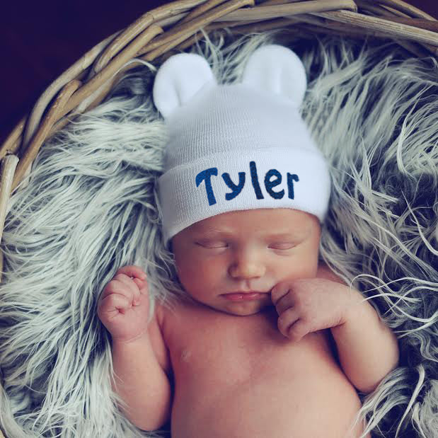 White Personalized Baby Bear Newborn Boy Hospital Hat