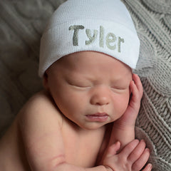 Personalized White Newborn Boy Hospital Hat - Grey Letters