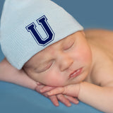 Blue Hat with Royal Blue Collegiate Letter Initial Newborn Boy Hospital Hat