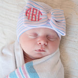 Monogrammed Traditional Nursery Striped Big Bow Newborn GIRL hospital hat