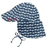 Navy Blue Little Whales Flap Sun Protection Hat -Baby and Toddler Sun Hat with Sun Protection - Personalization Option