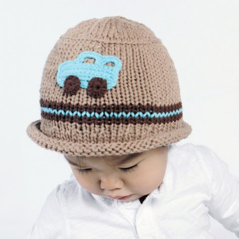 cool car baby and toddler boy knit hat