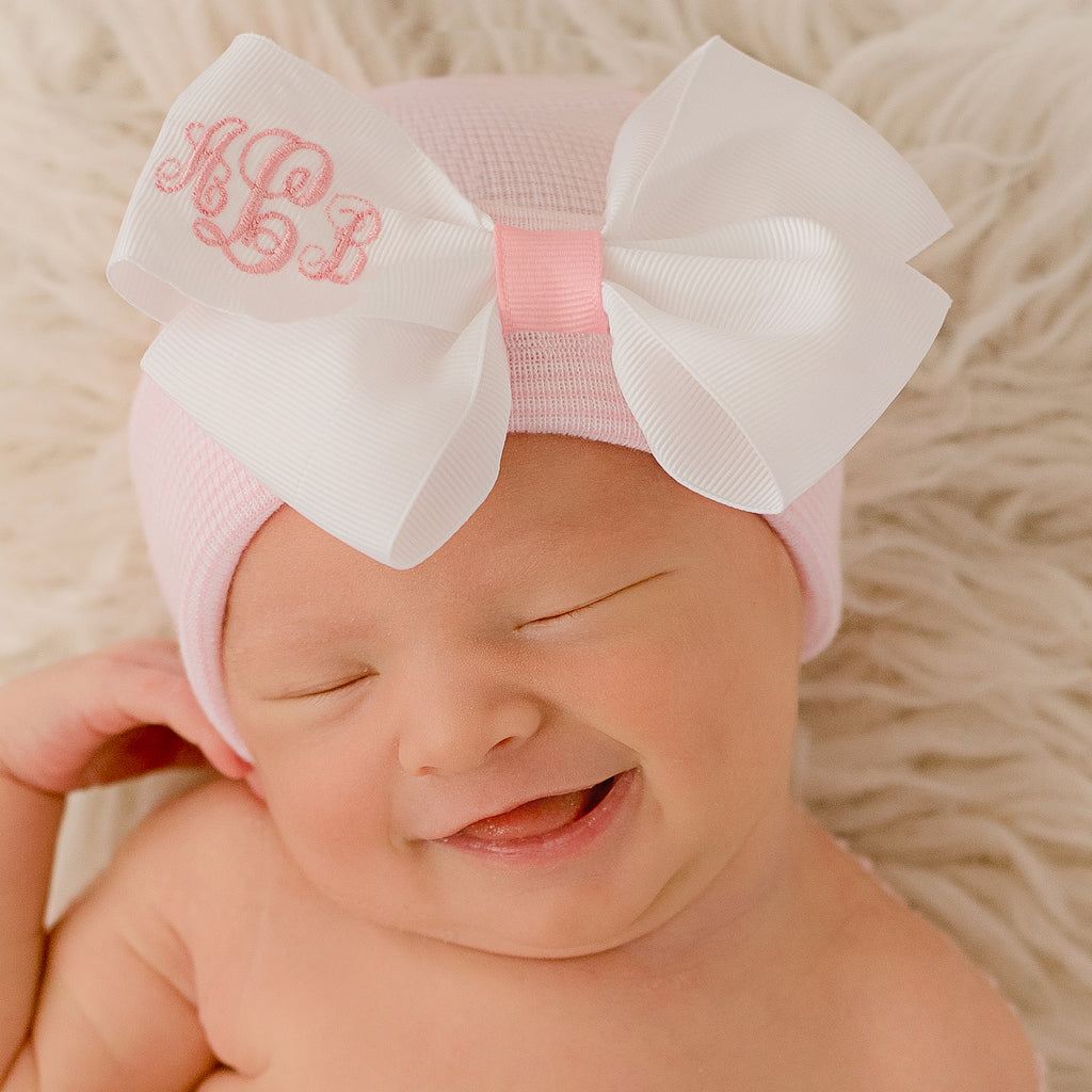 White Ribbon Monogrammed Initials Bow Pink and White Striped Hat Nursery Newborn GIRL hospital hat