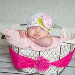 White Scalloped Edge Crochet Hat with Pink Rose icon