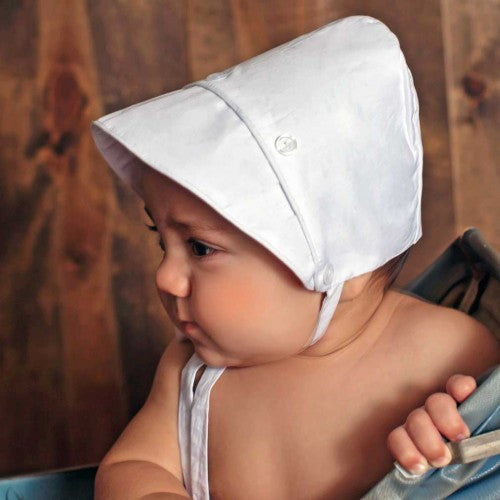 Pure White Bonnet for Baby Boys - monogram optional