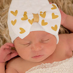 Printed Shimmery Gold Heart White Big Bow White Hospital Hat- Newborn Girl Hat icon