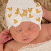 Printed Shimmery Gold Heart White Big Bow White Hospital Hat- Newborn Girl Hat