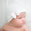 Precious Little White Bow with Pink Ribbon Newborn Girl Hospital Hat