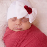 With All My Heart Newborn Girl Big Bow and Heart Patch Hospital Hat