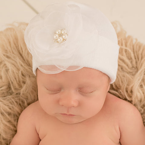 White Hat with White Layered Chiffon Flower with Pearl Center