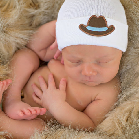 WHITE Newborn Hospital Hat with COWBOY HAT PATCH - Newborn Boys
