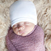 Pure White 100% Certified Organic Cotton Baby Beanie - Option for personalization