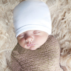 Pure White 100% Certified Organic Cotton Baby Beanie - Option for personalization icon
