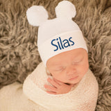 Personalized Double WHITE Pom Pom Hospital Hat  Newborn Boy OR GIRL Hospital Hat- GENDER NEUTRAL