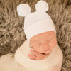 Double White Pom Pom Hospital Hat  Newborn Gender Neutral Hospital Hat