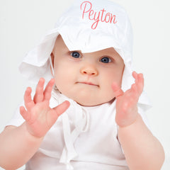 White Double Ruffle Brim Baby Girl Sun Hat -PERSONALIZED Option icon