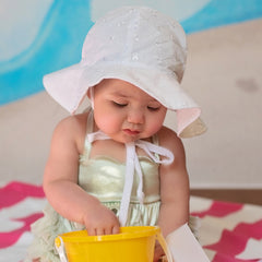 White Eyelet Wide Brim Baby Sun Hat - UPF 50 Sun Protection icon