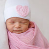 Big Pink Crochet Heart on White Newborn Girl Hospital Hat